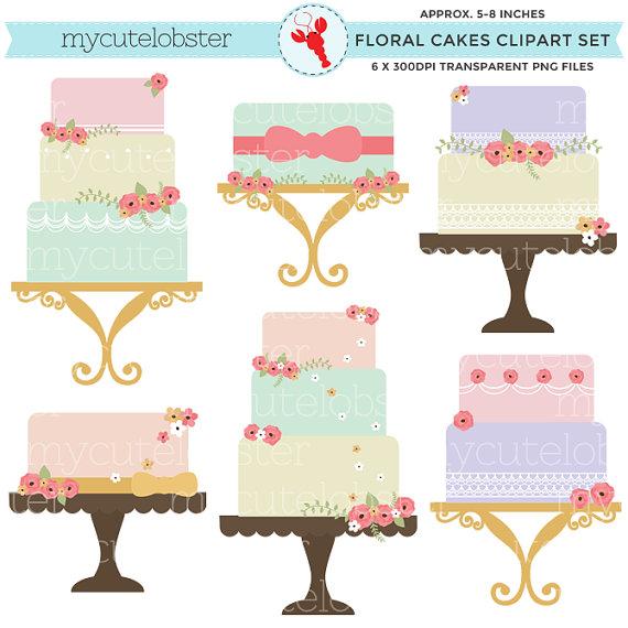 Wedding Cake clipart vintage cake Art Clipart set Set clip
