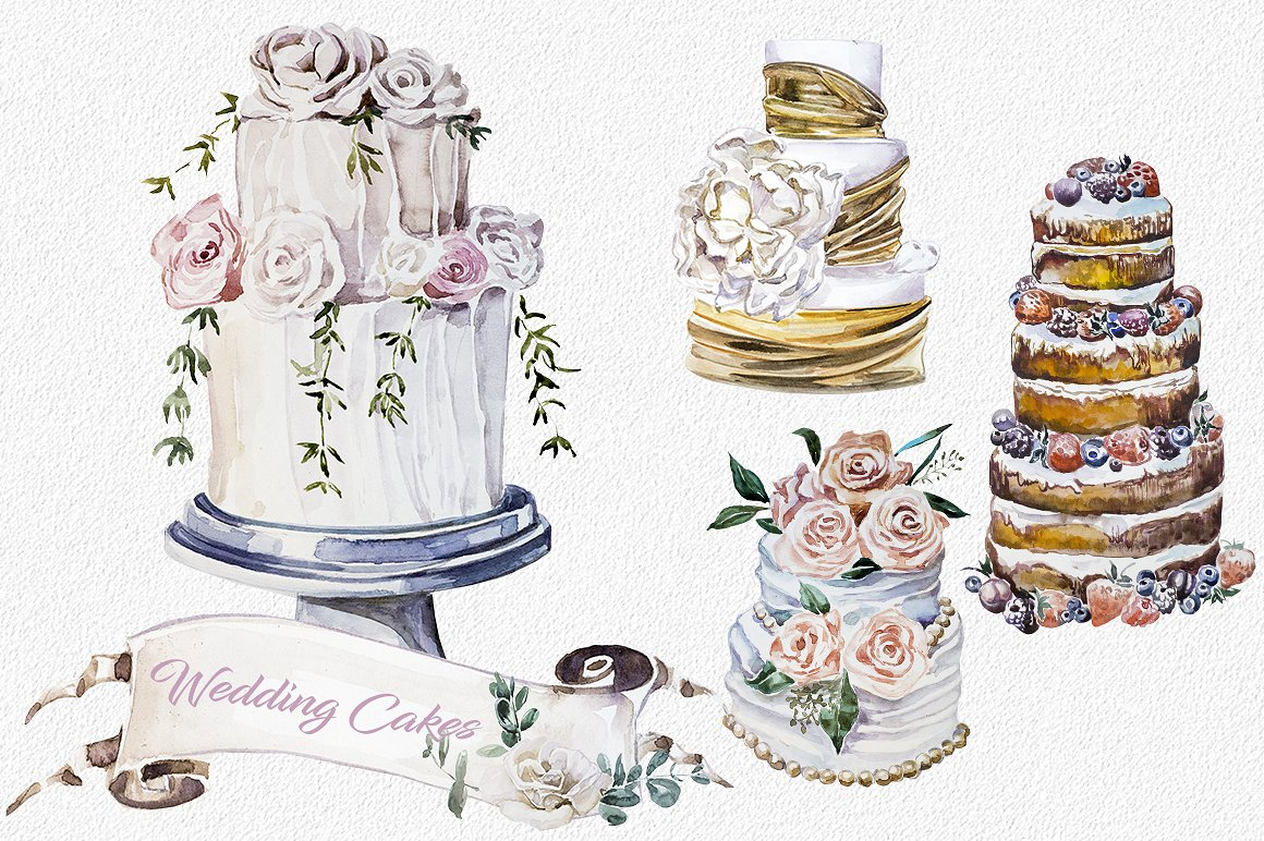 Wedding Cake clipart wedding dinner Watercolor Cakes CAKE WEDDING Wedding