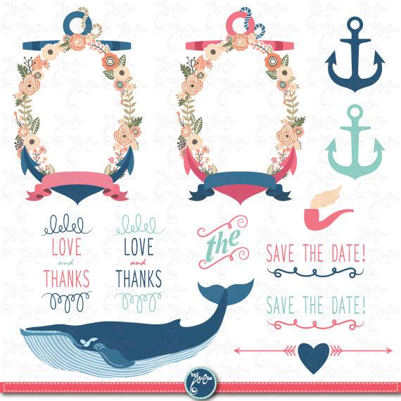 Wedding clipart anchor Clip art FLORA file digital