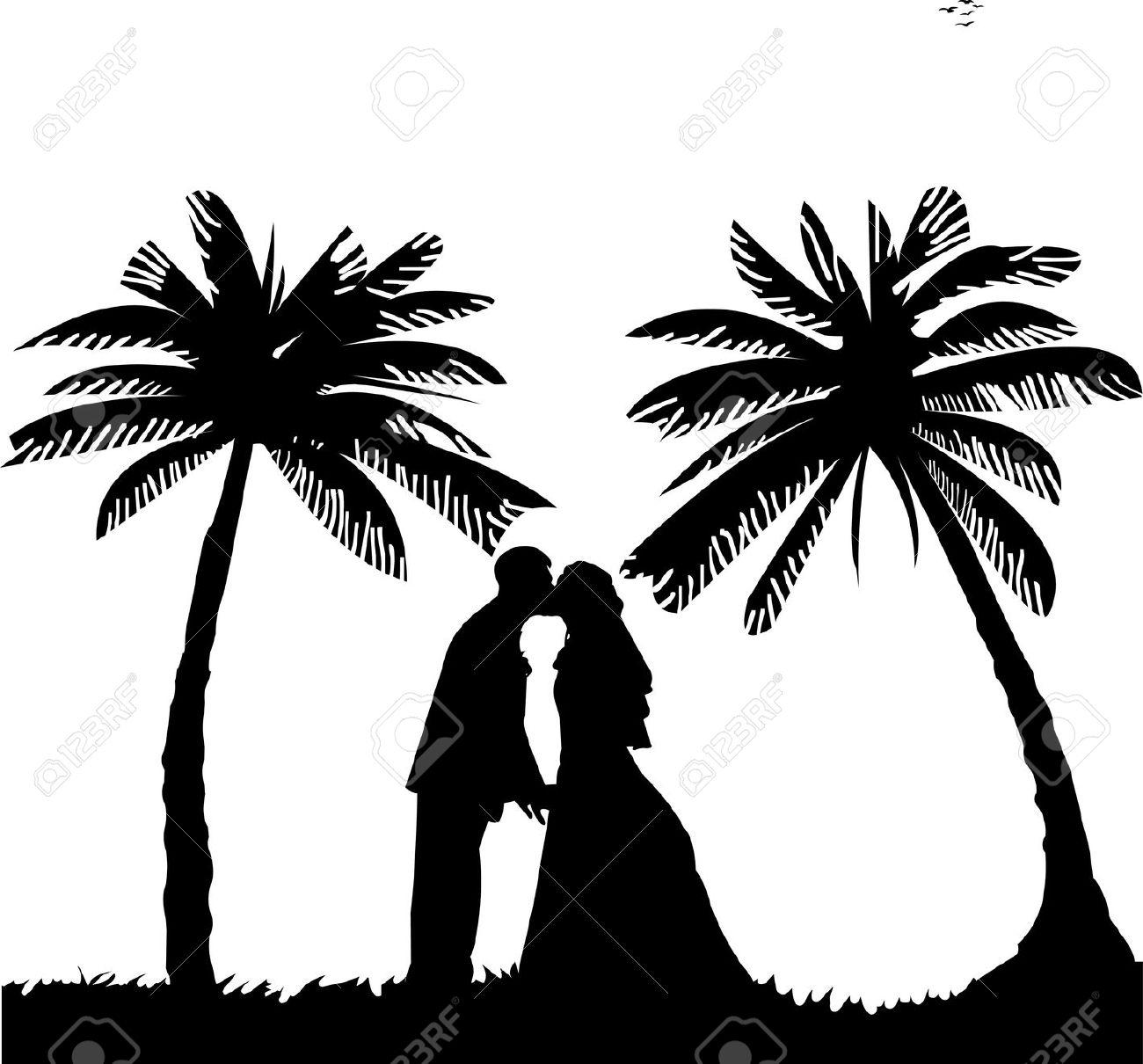 Beach clipart silhouette Clip Beach Wedding Wedding –