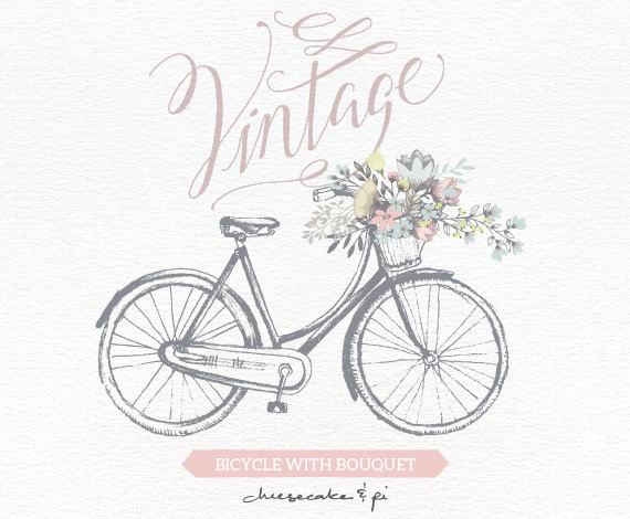 Vintage Flower clipart wedding invitation #9
