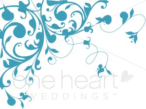 Wedding clipart blue Blue Scrolling Vine Variations Vine