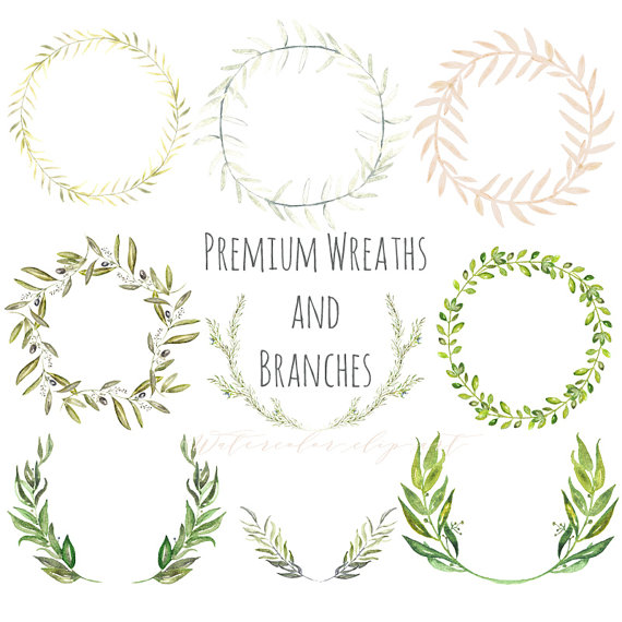 Branch clipart watercolor Wreaths wedding olives hand Watercolor