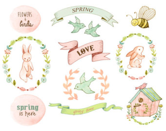 Wedding clipart bunny Floral clipart baby clipart shower