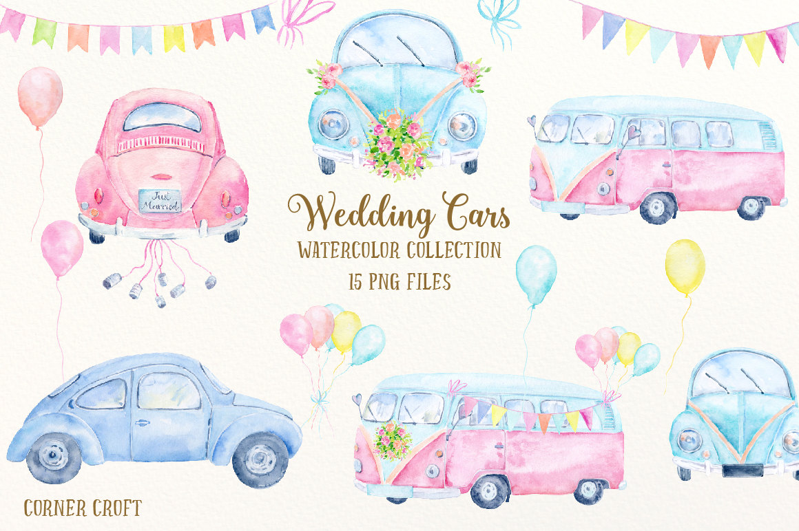 Wedding clipart bus  Wedding Car digital watercolor