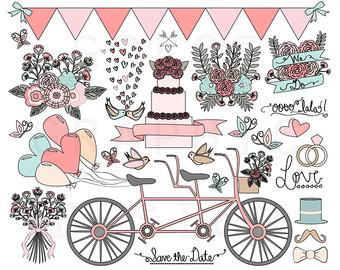 Wedding clipart cart Drawn PINK Save Wedding Wedding
