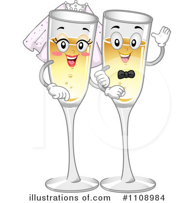 Wedding clipart champagne (RF) BNP Clipart Studio Illustration