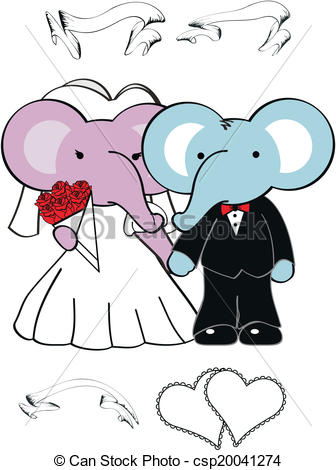 Wedding clipart elephant Vectors Illustration 9 of of
