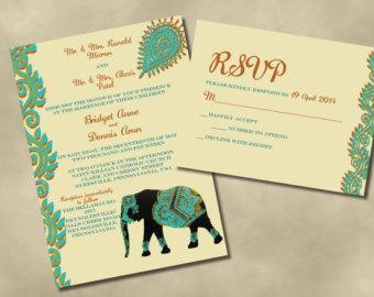 Wedding clipart elephant Invitations Etsy wedding Invitation Elephant