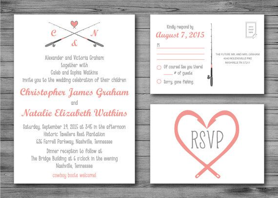 Wedding clipart fishing Design on Postcard and Poles