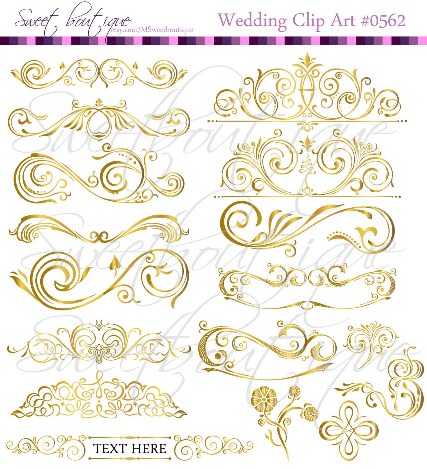 Wedding clipart gold Wedding Cards  Calligraphy GOLD