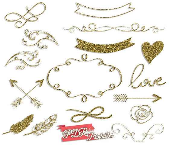 Wedding clipart gold PDRPrintables Wedding Gold Glitter Border