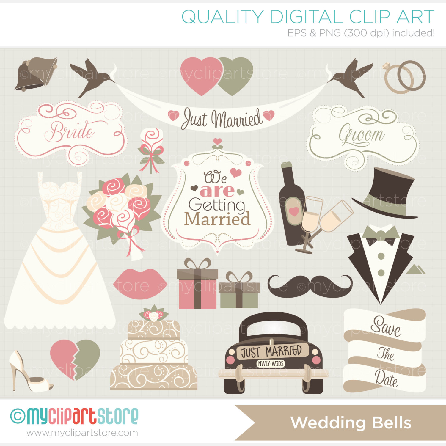 Wedding clipart just married Married Just / Hipster Bells