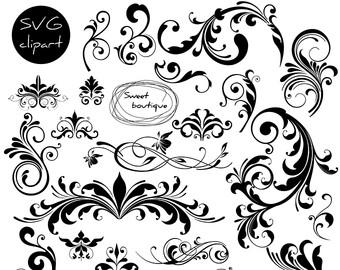 Wedding clipart line art Clipart Flourish Frame Borders Digital