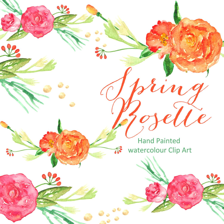 Orange Flower clipart bright flower Digital Drawn Spring Orange Rosette