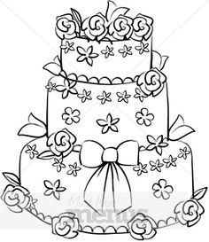 Wedding clipart outline Ideas Glory Border cake flowers