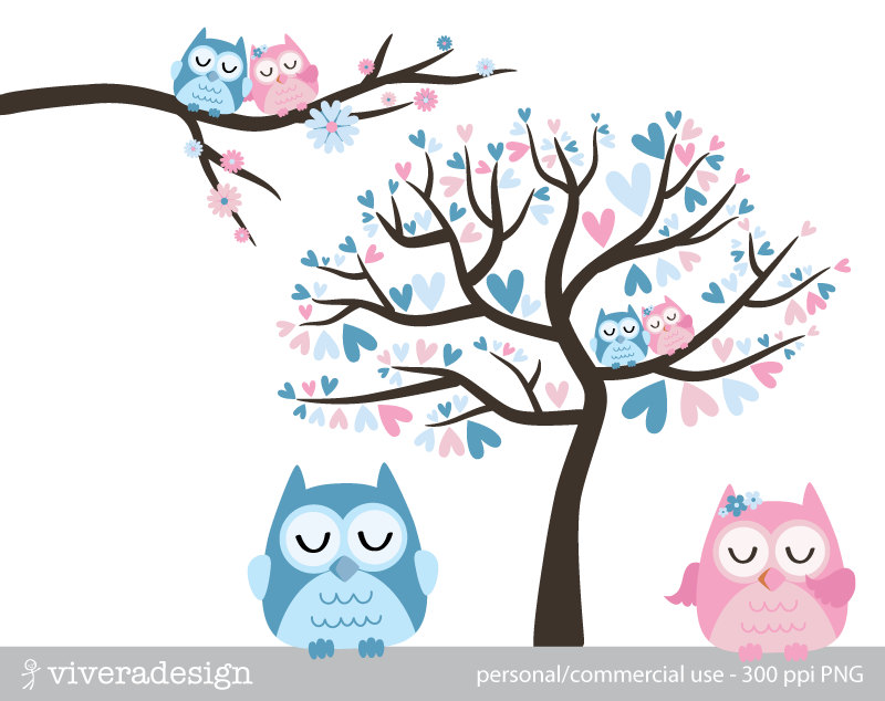 Wedding clipart owls Birds and Owl Digital Blue