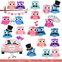 Wedding clipart owls Art • Premium Owl world's
