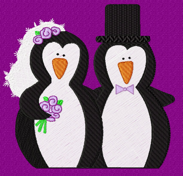 Wedding clipart penguin Cute Art Embroidery Designs Penguins