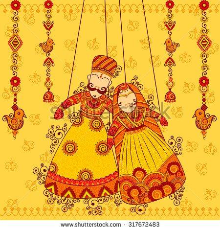Wedding clipart rajasthani Style art design style of