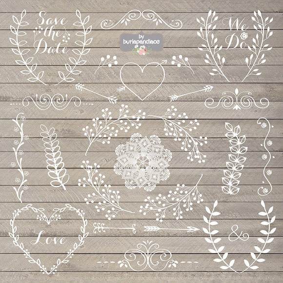 Wedding clipart rustic Clipart Creative Market burlapandlace clipart
