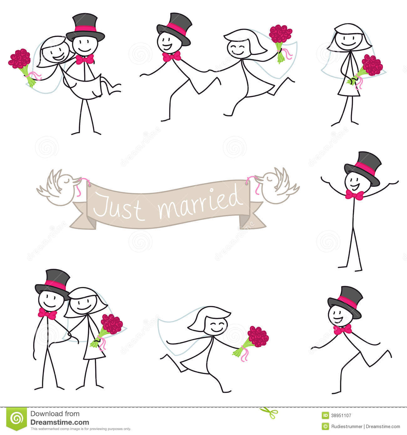 Wedding clipart stick figure  Over Bride Wedding From