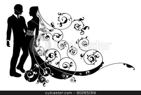 Wedding clipart watermark And silhouette vector couple Bride