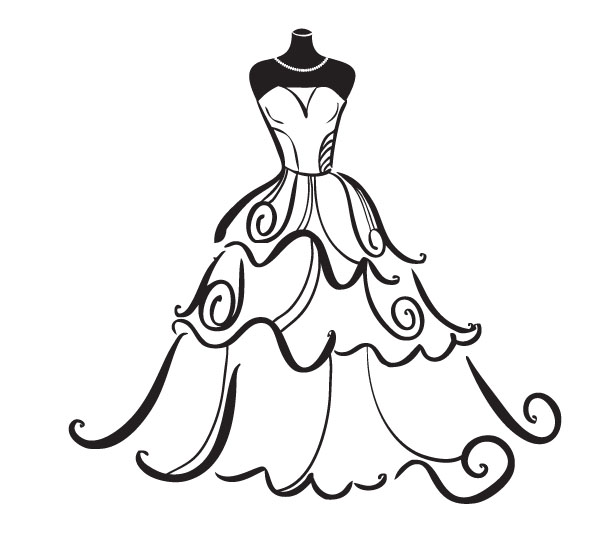 Elegance  clipart vintage wedding dress Images Free Bridal%20Clip%20Art Panda Outline