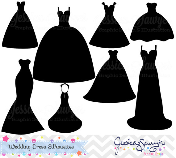 Wedding Dress clipart formal wear INSTANT cards for dress dress