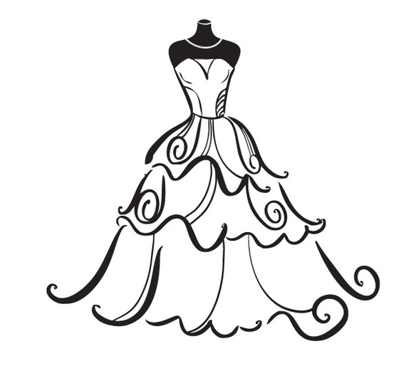 Gown clipart black and white Wedding 07 Clip Clipart: 101