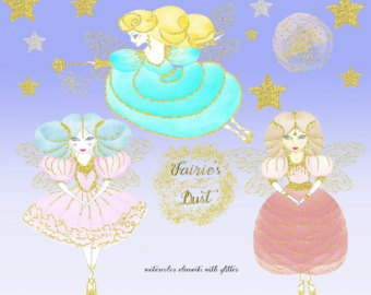 Wedding Dress clipart whimsical Watercolor glitter Watercolor with elements