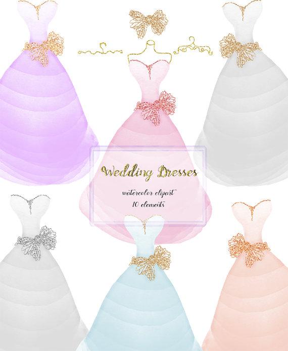Wedding Dress clipart whimsical Clip  Art Watercolor wedding