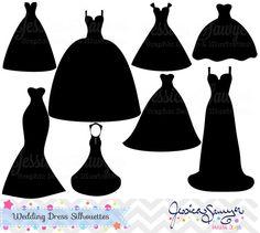 Wedding Dress clipart whimsical Dress silhouette Wedding  clipart