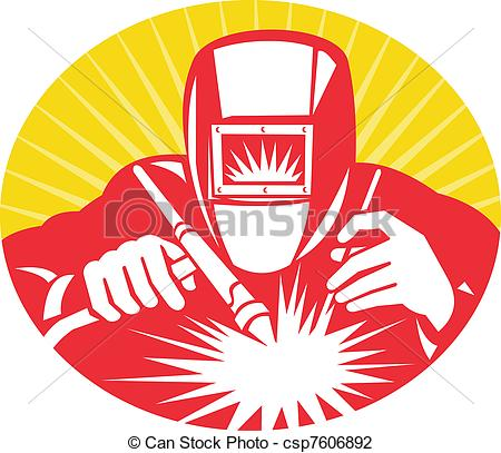 Welding clipart protective clothing Stock welding holding welder illustration