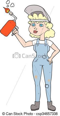 Welding clipart female Cartoon woman freehand woman cartoon