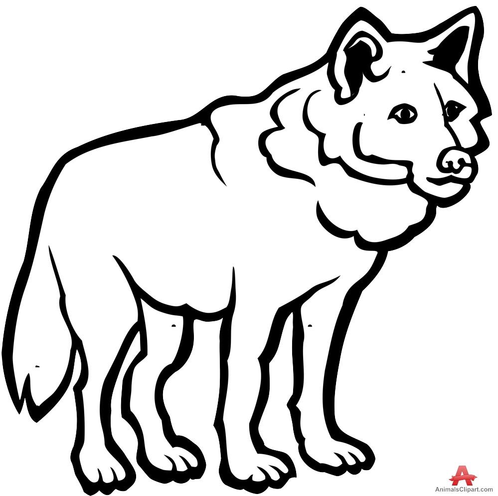 White Wolf clipart carnivore Black White Black Outline Wolf