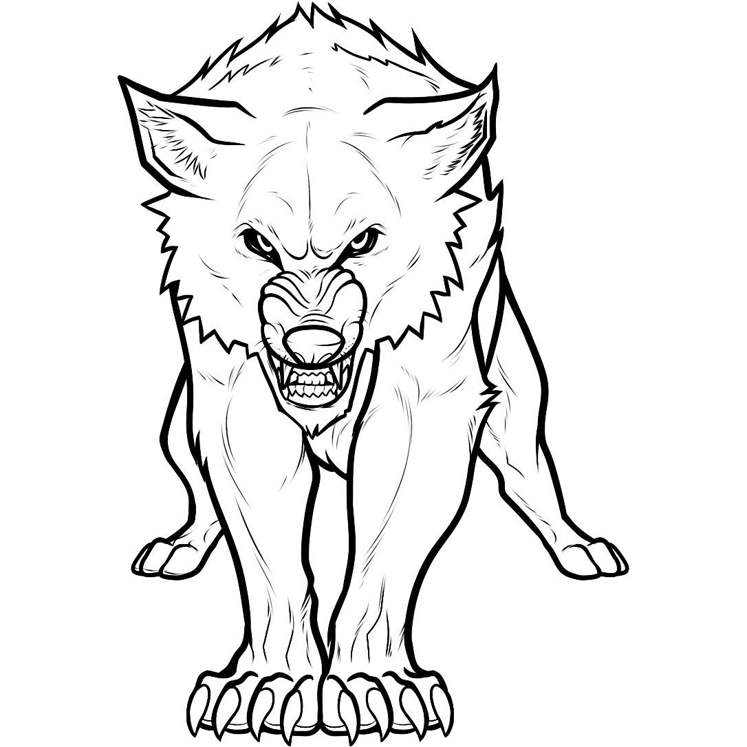 Werewolf clipart coloring Wolf Pdf Page Version Pagesjpg