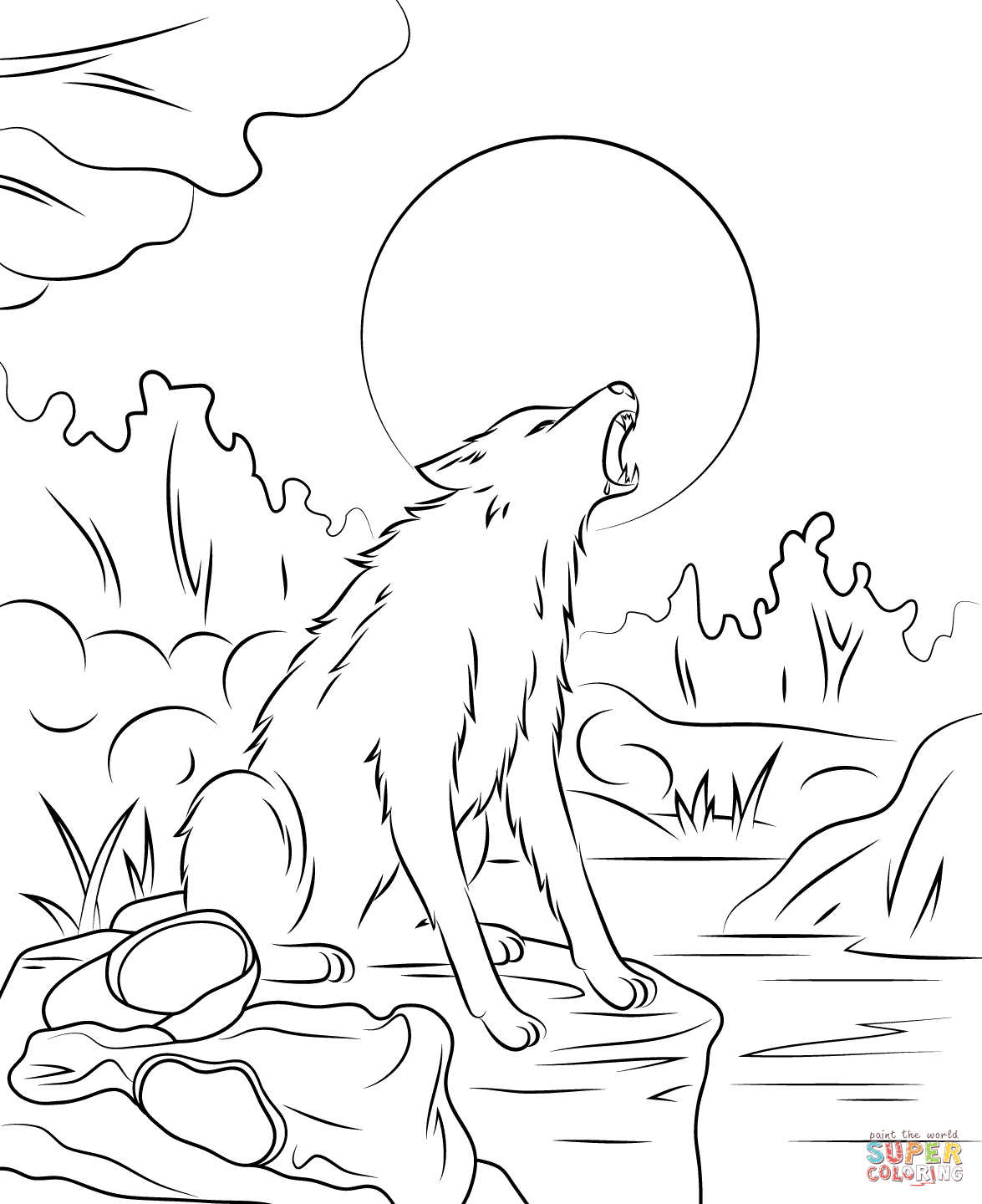Drawn wolfman coloring page Coloring Werewolf coloring the pages