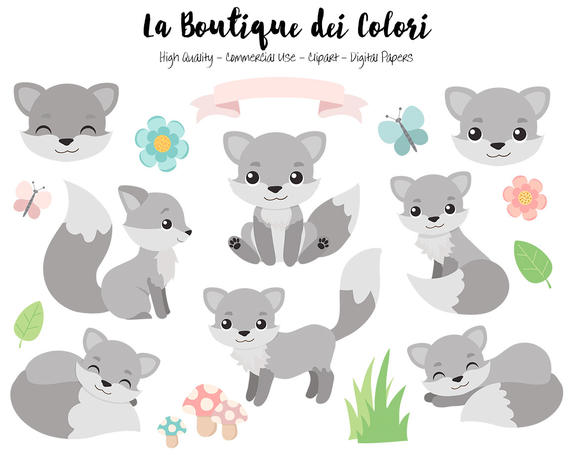 Wolf clipart cute Wolf Digital Gray Graphics Etsy
