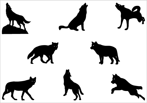 White Wolf clipart wolf silhouette #7