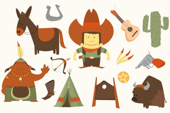 Wild West clipart scene Illustrations art Cowboy com 3