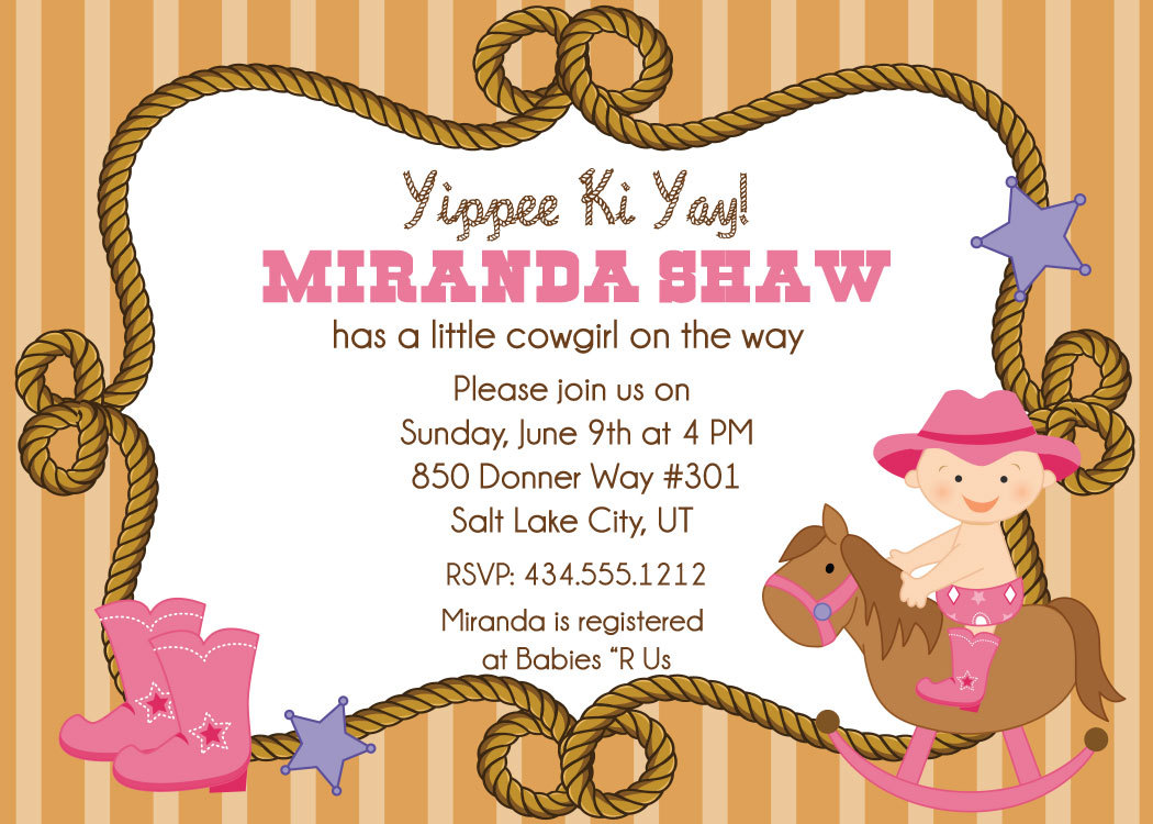 Cowgirl clipart background On pink Baby clipart Invitations