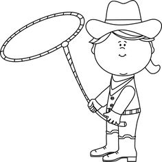 Cowgirl clipart black and white Western Cowboy  and with
