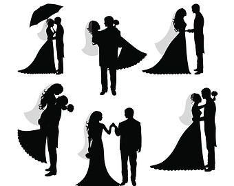 Wedding Dress clipart bride and groom silhouette Printable art Groom Silhouettes clip