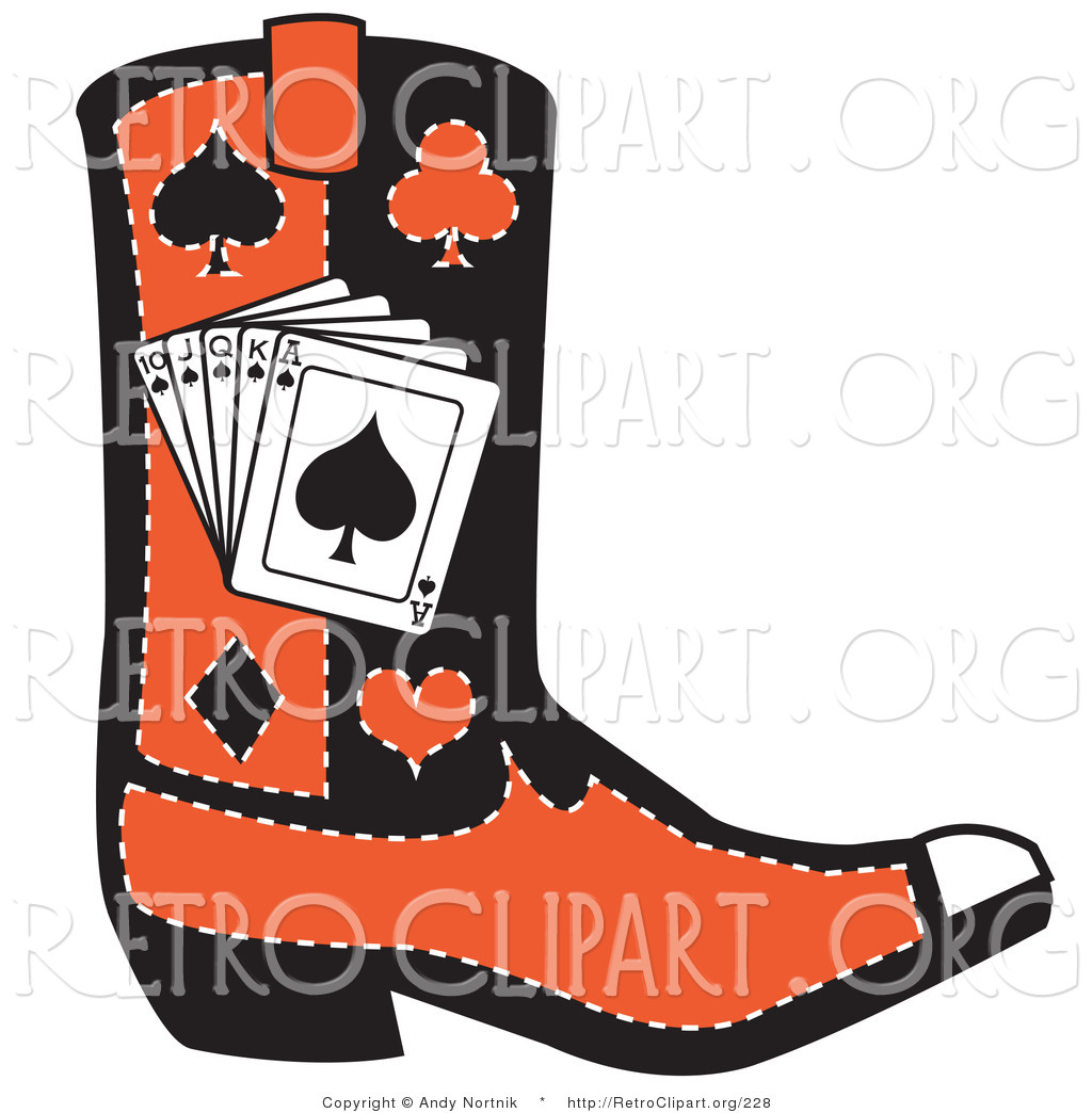 Western clipart casino Silhouettes of Cowboy White Heart