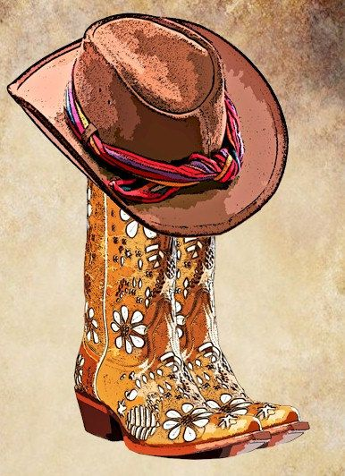 Western clipart cowgirl boot Graphics country cowboy hat Pinterest