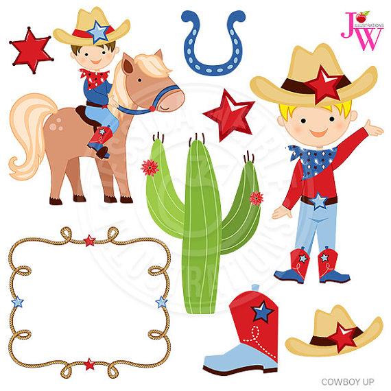 Cowboy clipart cute cowboy Il_570xn Digital  Clipart Up