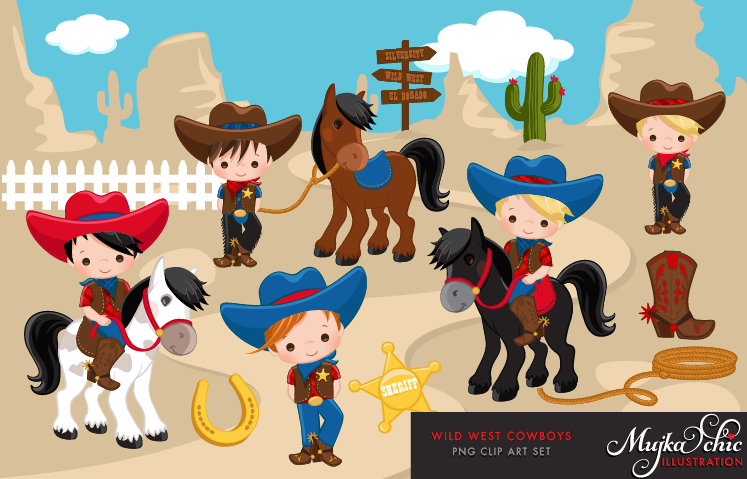 Wild West clipart cute cowboy Clipart Instant and cute Cowboy