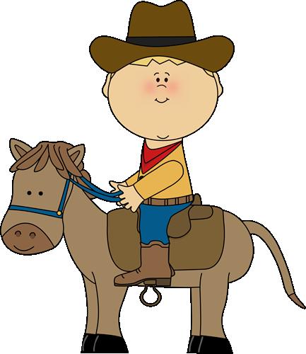 Cowboy clipart riding horse Art a Western Clip Horse