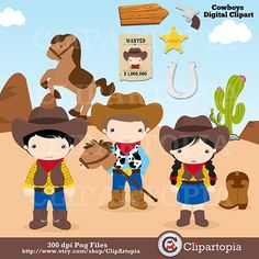 Western clipart little cowboy Viejo art Brown para fazenda